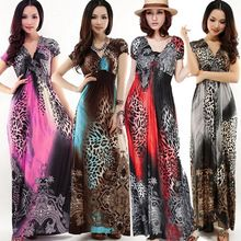 Evening Women Dresses Sleeve V Neck Long Printed