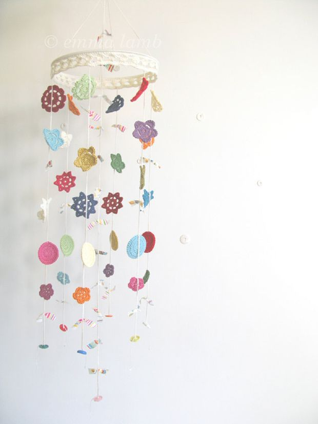 Crochet Flower Mobile, Nursery Decor, Handmade by Emma Lamb