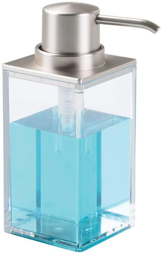 Amazon Com Mdesign Square Plastic Refillable Liquid Soap Dispenser Pump Bottle For Bathroom Vanity Countertop Soap Pump Dispenser Soap Dispenser Liquid Soap