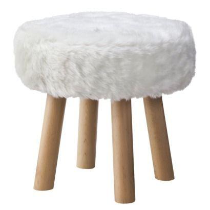 Threshold Faux Fur Foot Stool White Footstool Stool White
