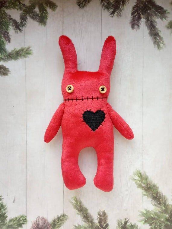 Personalized bunny plush Creepy cute stuffed animal handmade Doll goth Voodoo doll Creepy bunny rabbit Halloween decor Personalised gift #bunnyplush