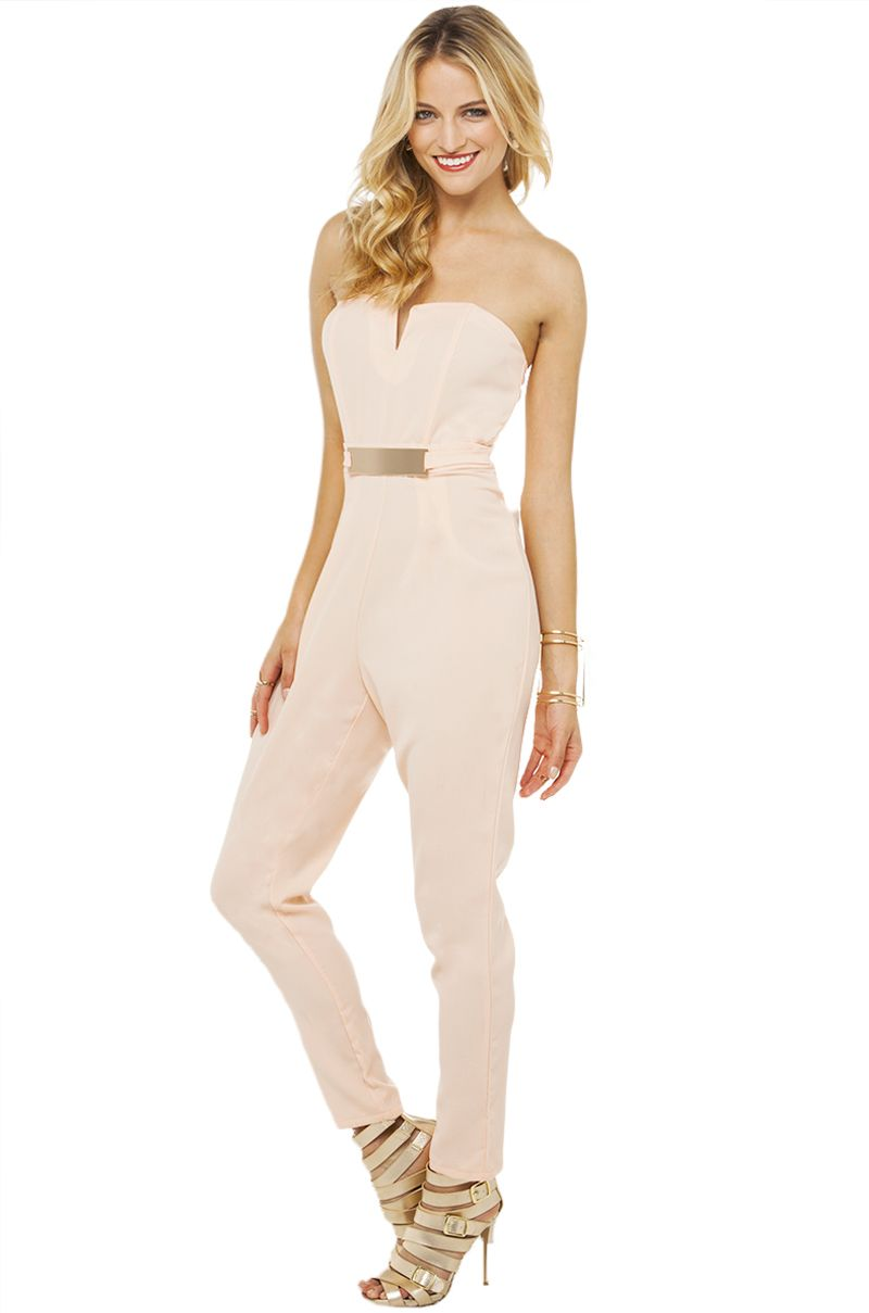 Strapless Jumpsuit In Blush In Pink | Fascinating Strapless ...