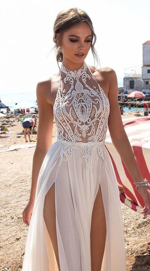Stunning prom gowns,sexy backless evening dresses ,modest white slit prom dress