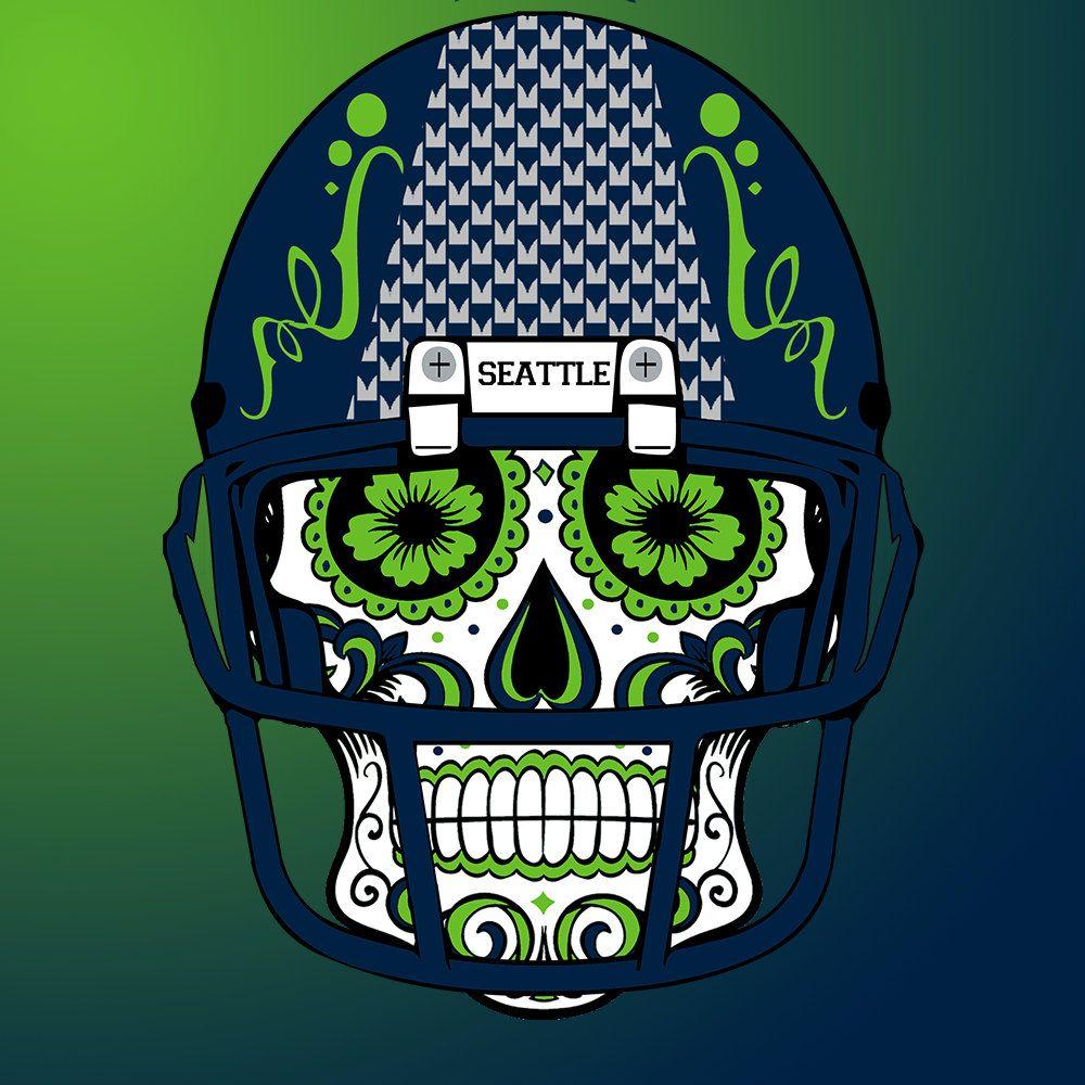 Applied Icon NFL Seattle Seahawks Outdoor Small Dia De Los Muertos Skull Decal
