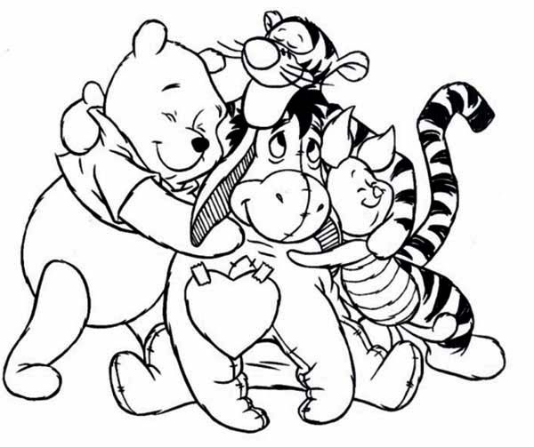 Winnie The Pooh And Friends Hugging Coloring Page Free