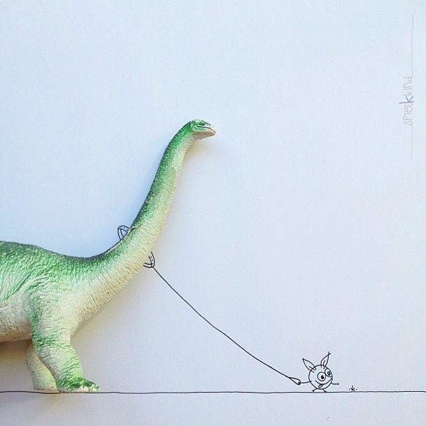 taking the dino for a walk. #and_draw_something #khiesti_littlemonster #spielkkind