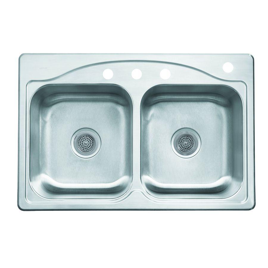 KOHLER Cadence 22-in x 33-in Stainless Steel 2 Stainless Steel Drop ...