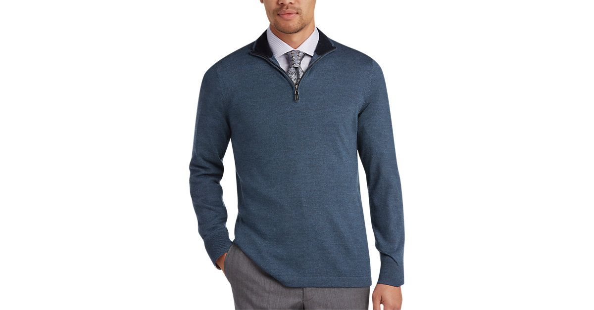 Check this out! Joseph Abboud Slate Modern Fit Wool Sweater from MensWearhouse. #MensWearhouse