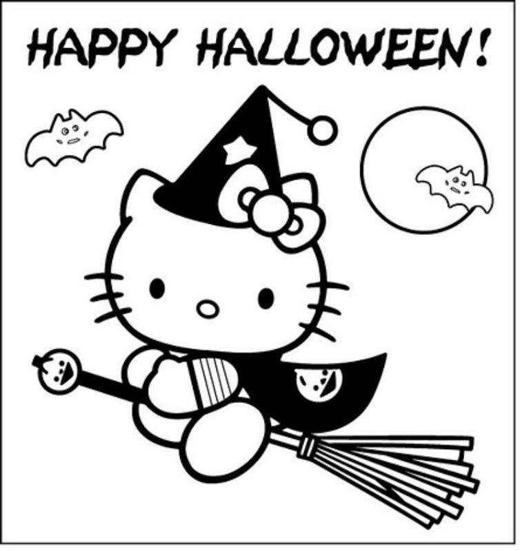 Pinto Dibujos Hello Kitty Bruja de Halloween para colorear