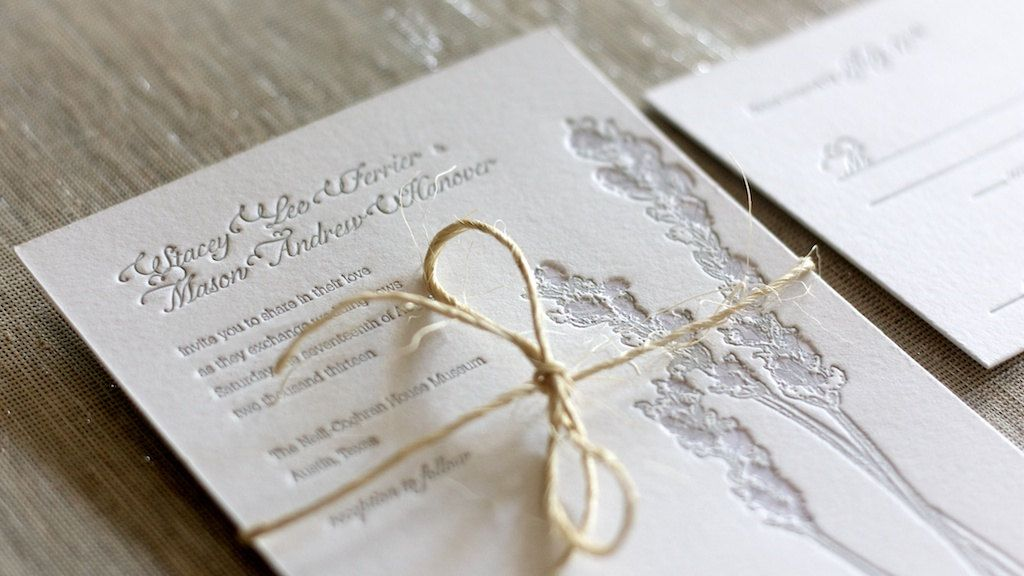 sample wording for rsvp wedding invitations%0A Letterpress Lavender Wedding Invitation Sample         via Etsy
