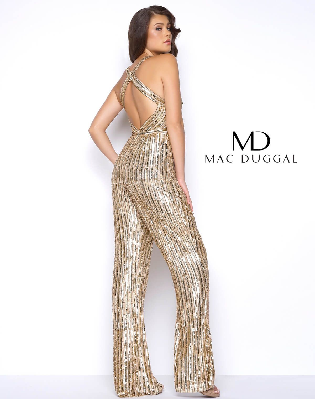 32804f5a77f5 Gold Sequin Flared Prom Jumpsuit