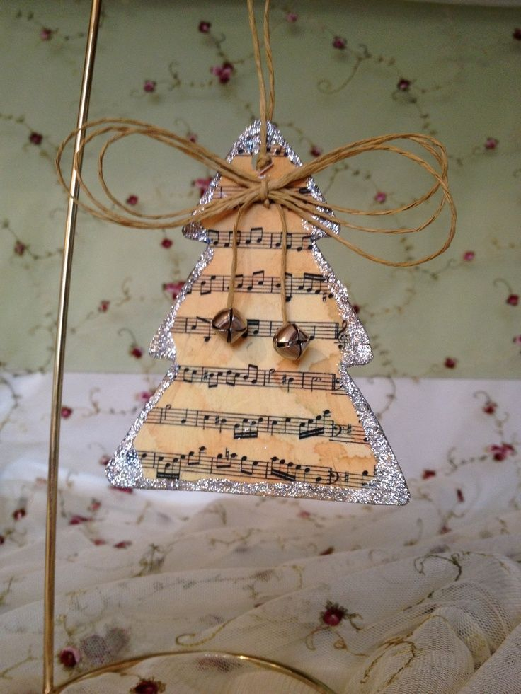 Vintage Christmas Craft Ideas Part - 16: Images Of Vintage Christmas Sheet Music | Vintage Style Music Sheet  Christmas Ornament .