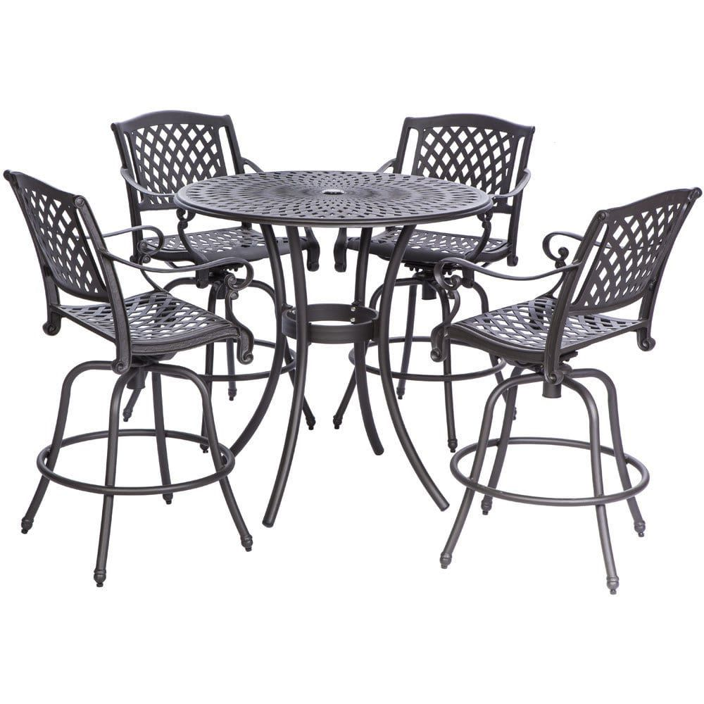 Westbury Cast Aluminum Dining Set With Round Bar Table And 4 Swivel Arm  Chairs (Westbury Cast Aluminum 42 Rd. Bar Set), Black, Size 5 Piece Sets,  ...