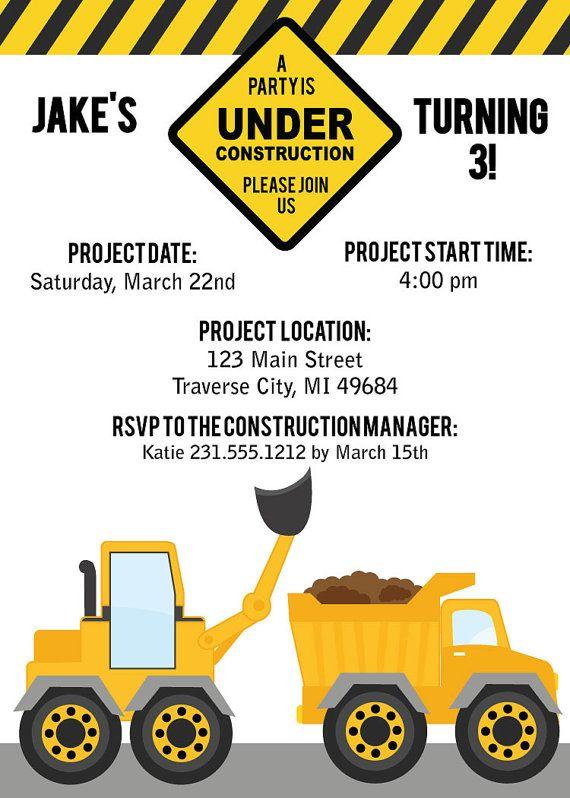 construction invitation boys birthday party invite printable