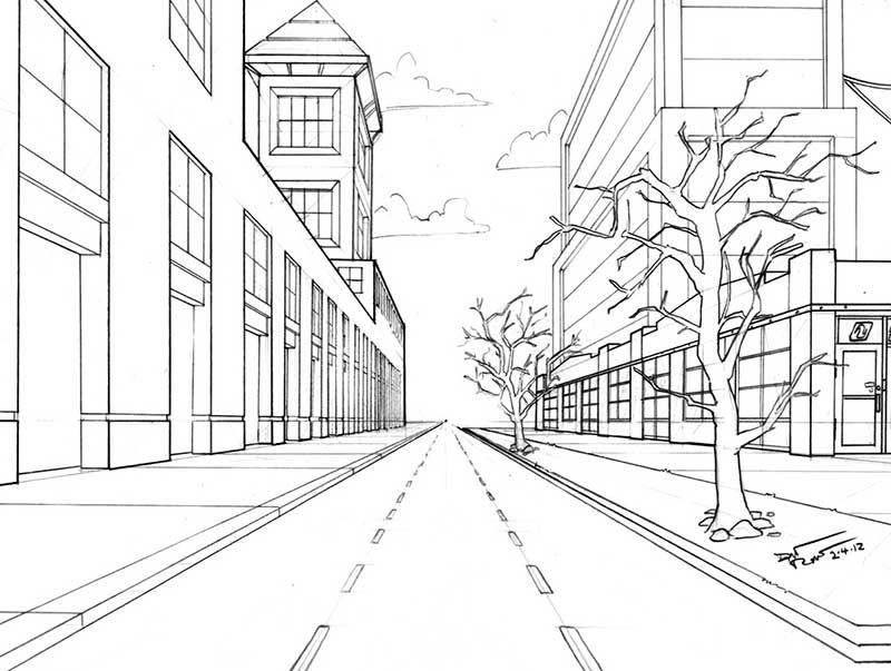 Перспектива рисунки карандашом улица