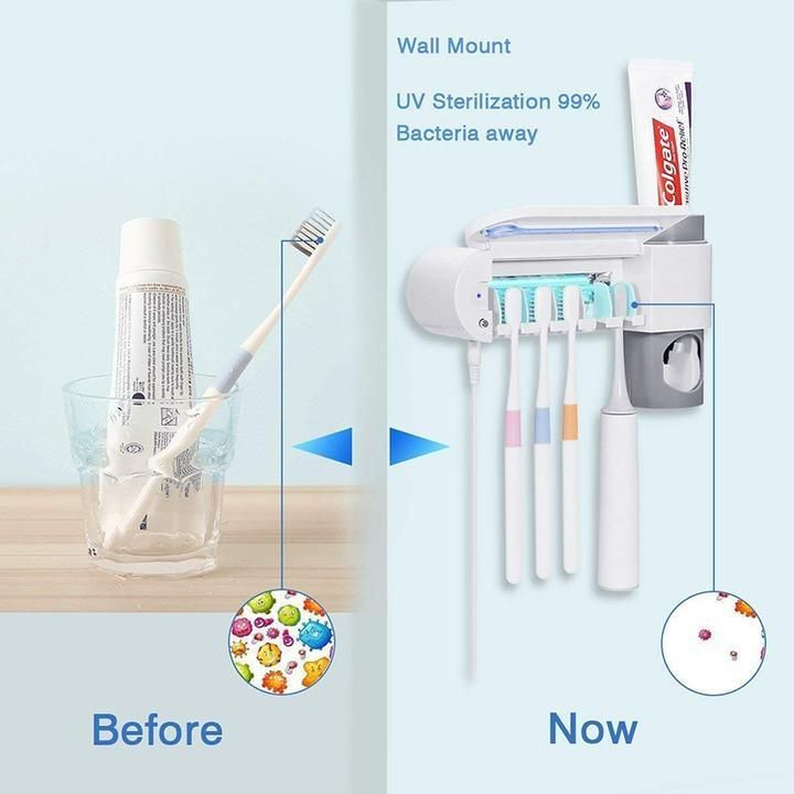 2 in 1 ultraviolet toothbrush disinfector automatic on disinfectant spray wall holders id=50508
