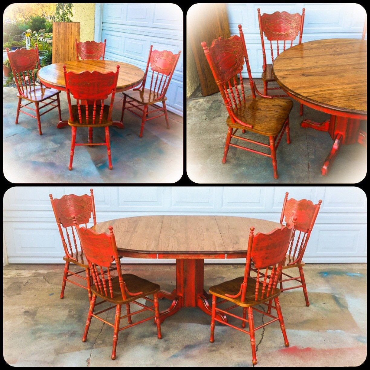 Red Country Kitchen Table Oak Table And By Reincarnatedwithlove