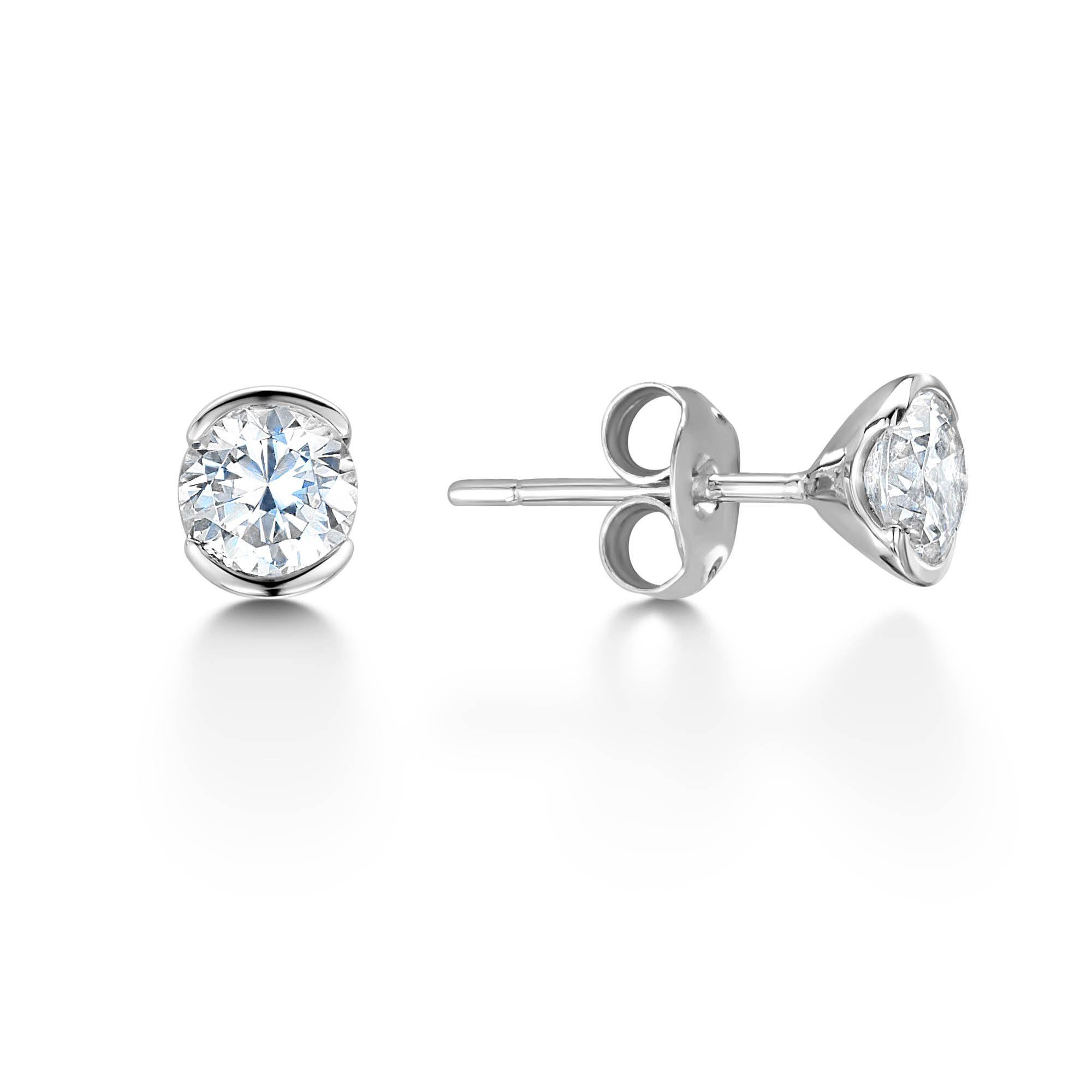 Semi Rub Over Set Brilliant Cut Diamond Stud Earrings 0 30ct