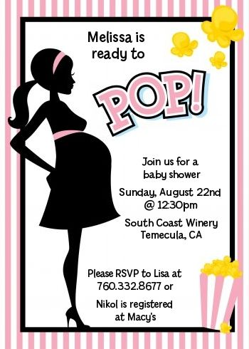 Ready To Pop Pink   Baby Shower Invitations