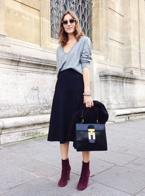 450e3765231 04 navy midi, a baggy grey sweater and purple suede boots ...