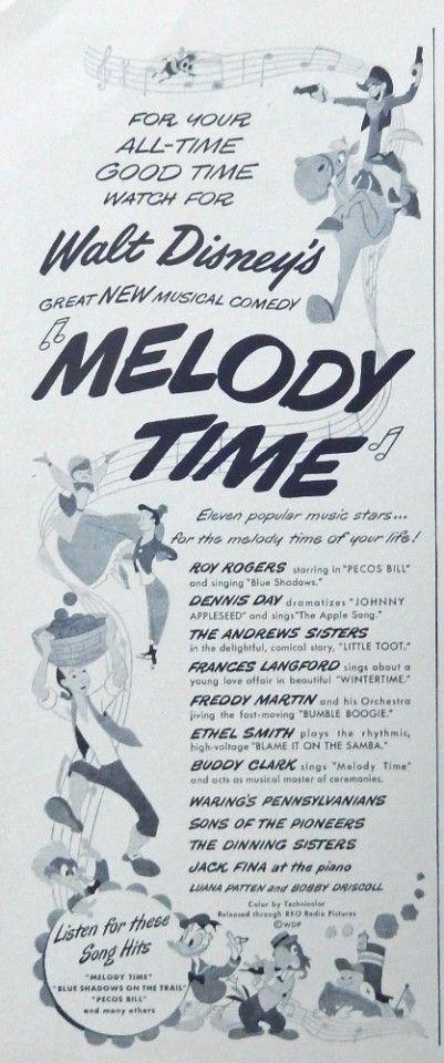 Melody Time  original movie print ad  vintage Walt Disney s B W Illustration 1948 Life Magazine Art