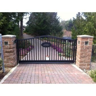 Custom Aluminum Single Swing Gate Www Westcoastgates Ca Proudly Canadian And Located On Beautiful Iron Gates Driveway House Gate Design Aluminum Driveway Gates