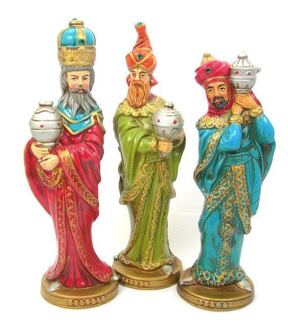 """Christmas Decor, Three Kings Figures, 10"""" Tall Magi or ..."""
