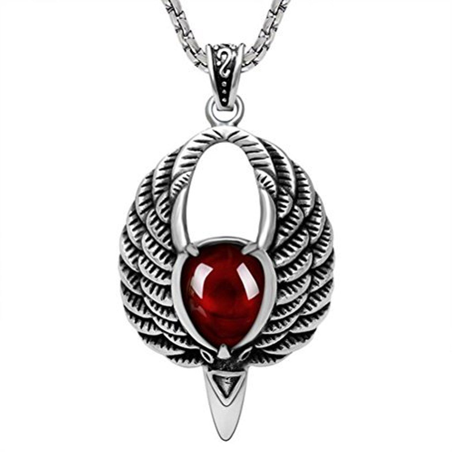 Retro garnet inlaid ruby bird wings pendant necklace men women retro garnet inlaid ruby bird wings pendant necklace men women jewelry 24 inch long by mens pendant necklaces awesome products selected by anna aloadofball Gallery