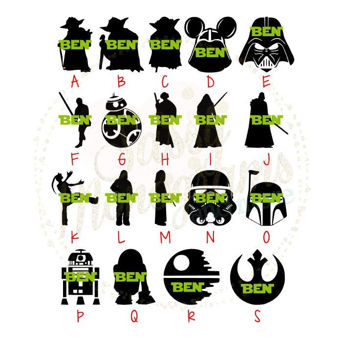 Star wars personalized silhouette vinyl decal sticker yoda kylo ren chewbacca bb8 r2d2 princess leia luke darth stormtrooper magic band