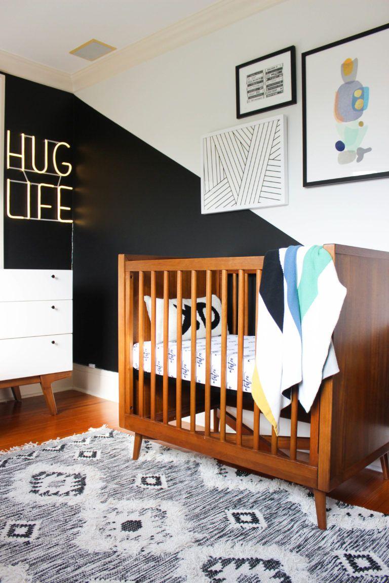 Modern Boho Nursery Project Nursery Nursery Accent Wall Modern Crib Black Accent Walls