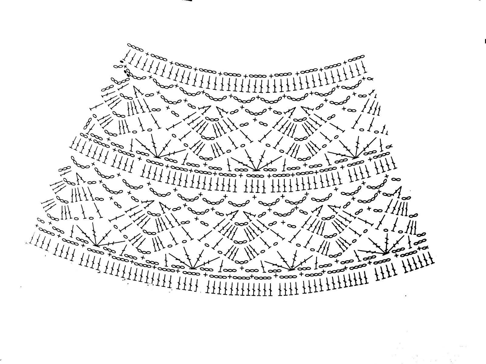Fantástico Patrón Falda Crochet Libre Patrón - Manta de Tejer Patrón ...