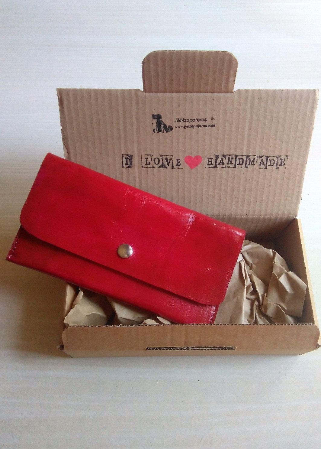 8603cc170 Billetera de Mujer, Cartera de Cuero de Color Rojo, Cartera para Mujer,  Bolso