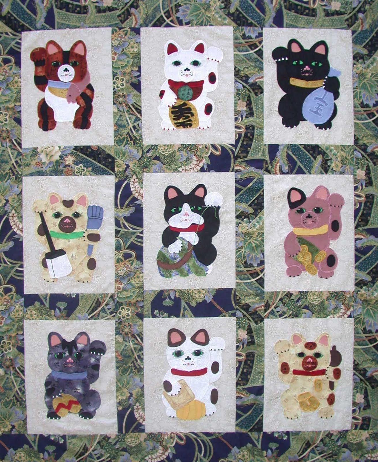 Maneki Neko (beckoning cat) applique quilt pattern by Su-Sun ... : applique cat quilt patterns - Adamdwight.com
