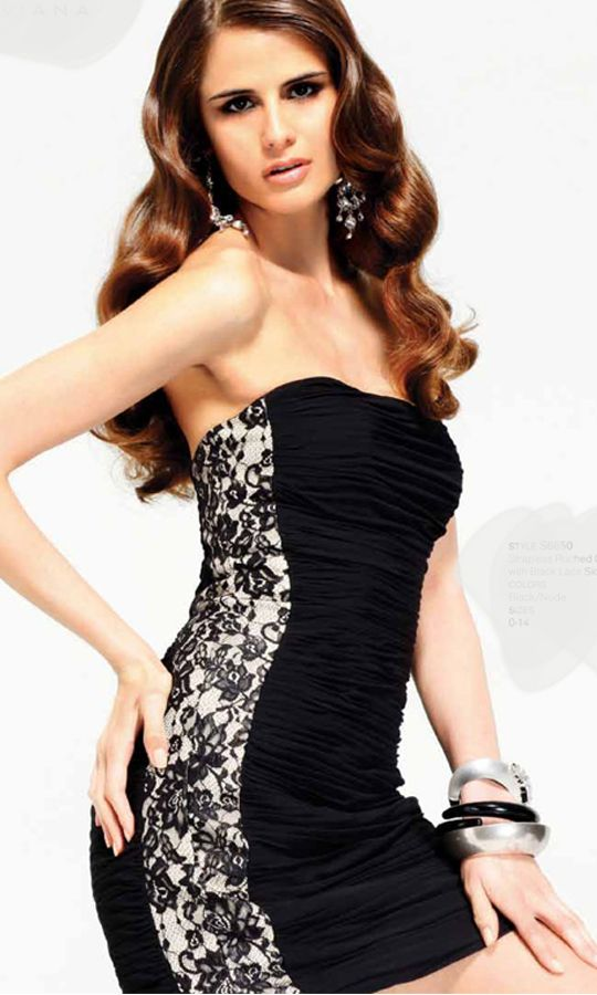 Strapless, ruched Chiffon mini dress with black Lace side panels