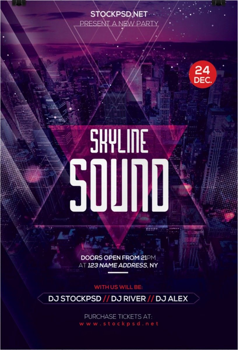 skyline sound psd flyer templates flyer skyline sound psd flyer templates