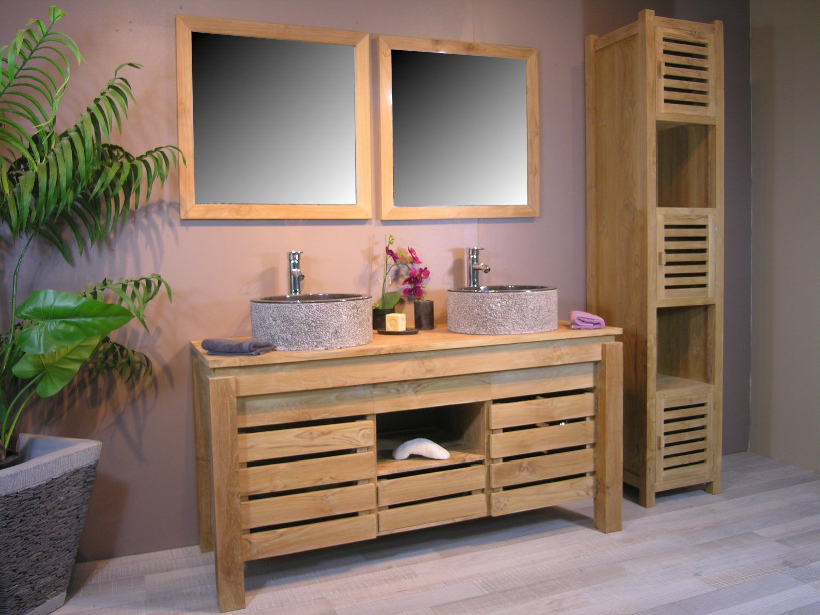 Meuble Salle De Bain En Teck Pas Cher 2 Double Vasque Zen Promo Bois Home Decor Teak Bathroom Cool Furniture