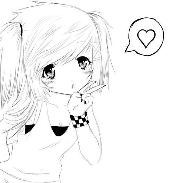 Cute Anime Girls Coloring Pages Super Coloring Pages Anime