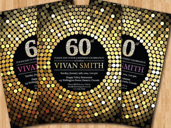 60th Birthday Invitation For Women Gold Glitter By Arthomer