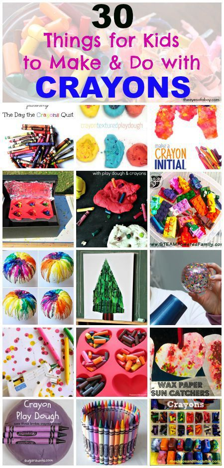 30 things for kids to make do with crayons including crayon art