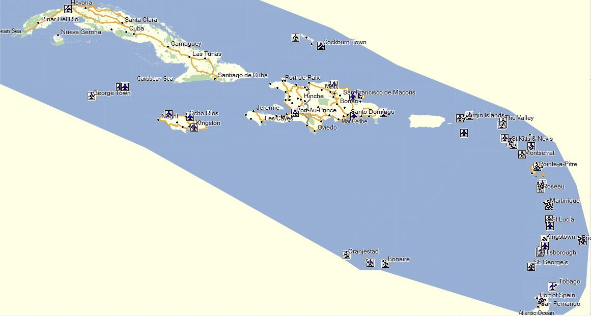 Caribbean Garmin GPS Map Covers entire caribbean region including