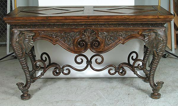 elephant console table Grand Elephant Iron Console Table