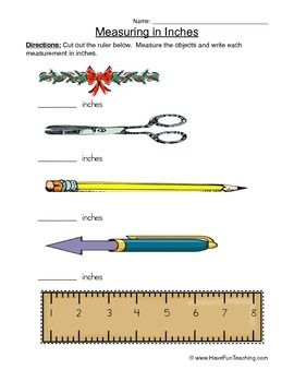 free measuring in inches worksheet cut out the ruler below measure the objects and write each. Black Bedroom Furniture Sets. Home Design Ideas