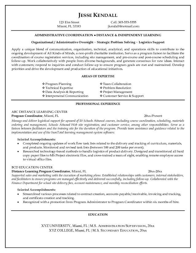 Program Coordinator Resume -    wwwresumecareerinfo program - teacher resume objective sample