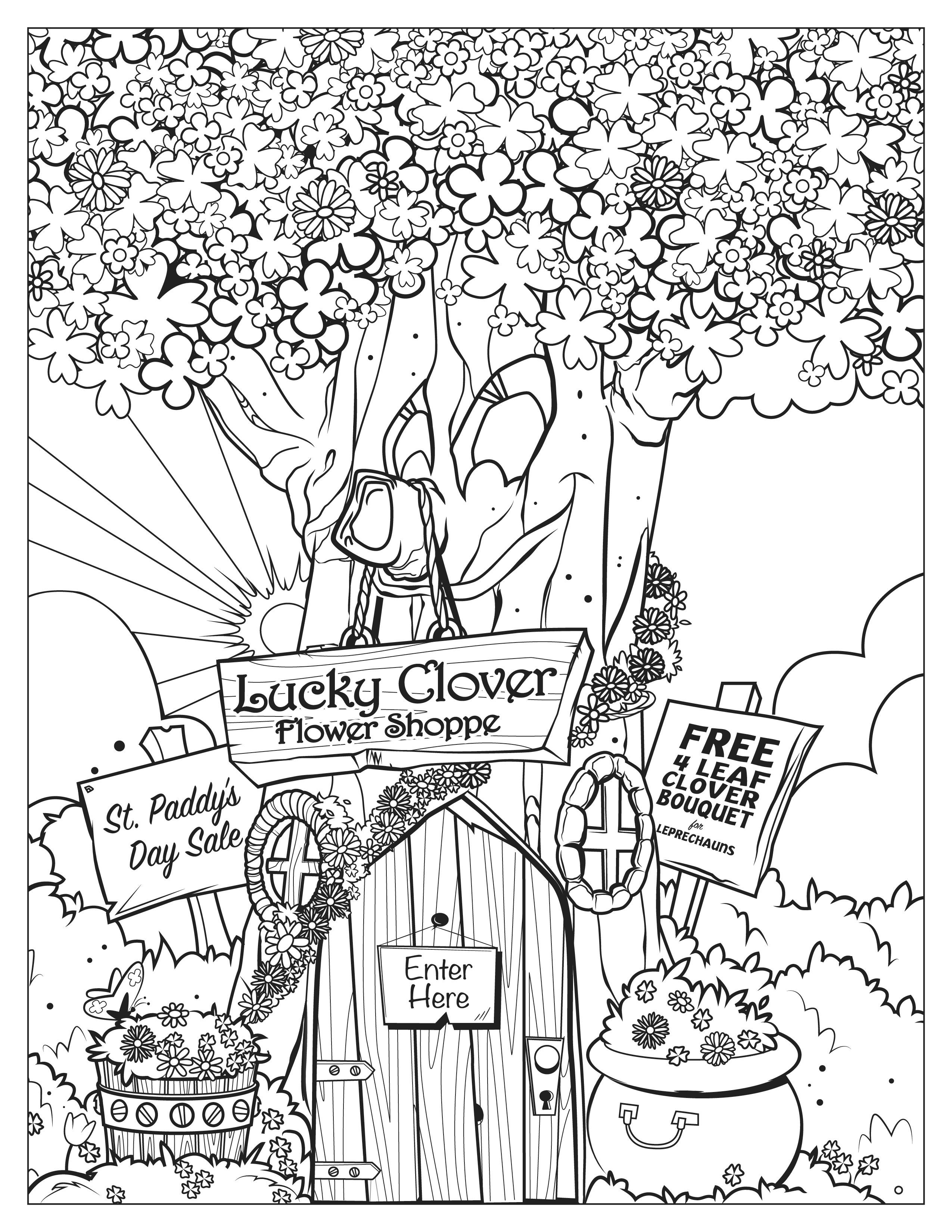 Lucky Charms Flower Shop Coloring Page Coloring Pages Heart For Kids Lucky Charm [ 3300 x 2550 Pixel ]