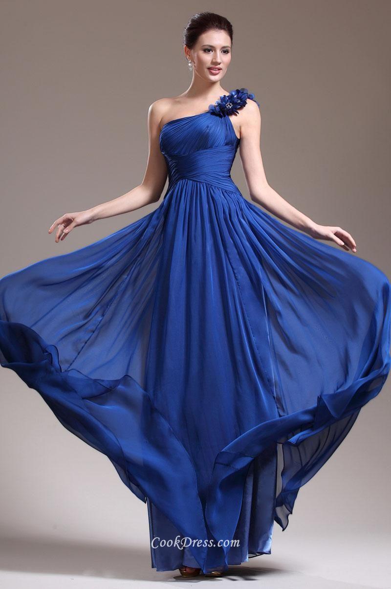 Flower One Shoulder Unique Royal Blue Long Chiffon Ball Dress