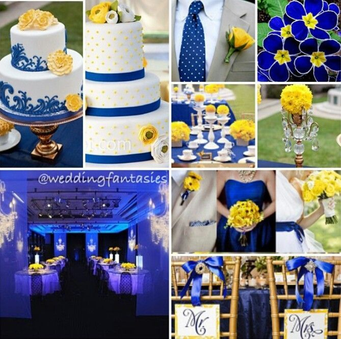 Royal Blue Yellow And Black Wedding With A Hint Of White Lol