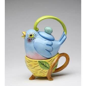 Green Parakeet 0.38-qt.Tea for One Teapot Set