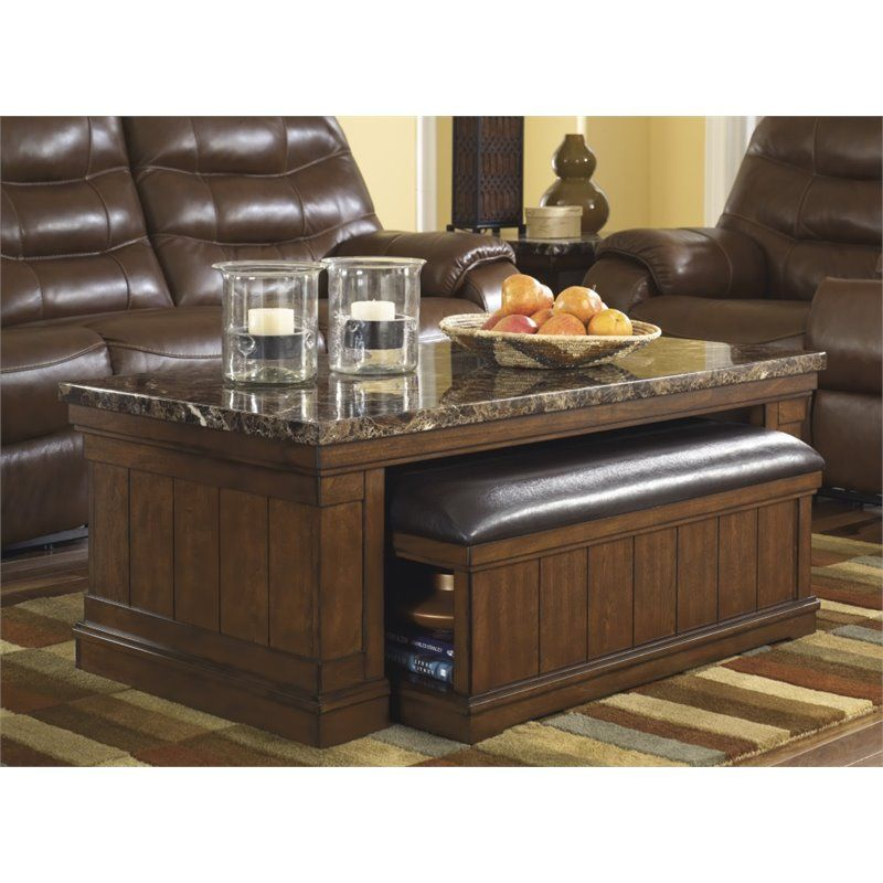 Ashley Merihill Coffee Table With Ottoman In Medium Brown Coffee Table Ottoman Coffee Table Marble Top Coffee Table