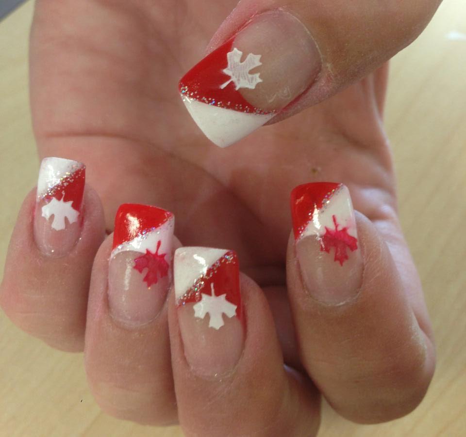 Canada day nails! #canada #gelnails | Nails | Pinterest | Nageldesign
