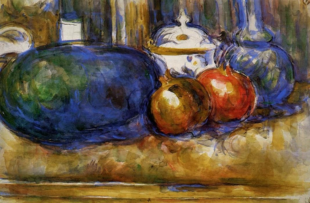 acheter tableau 39 nature morte avec past que et pemegranates 39 de paul cezanne achat d 39 une. Black Bedroom Furniture Sets. Home Design Ideas